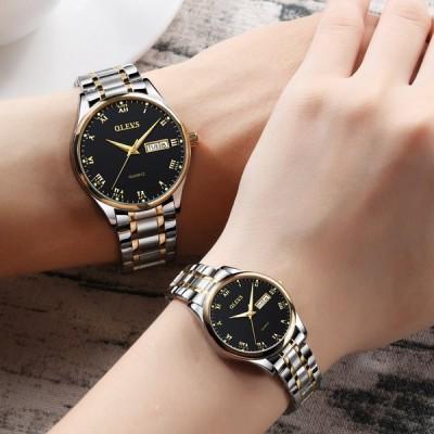 ペアウォッチ メンズ レディース 腕時計 防水 ステンレス鋼 ラグジュアリー 曜日表示 ステンレス