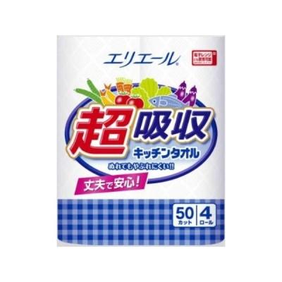 大王製紙 エリエール 超吸収キッチンタオル 4ロール入(50カット)NC7-2545-017-2545-01