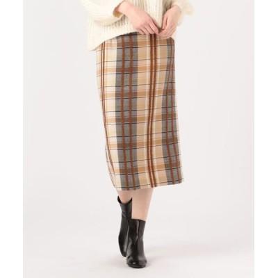 TOMORROWLAND/トゥモローランド リングエフェクトチェック Iラインスカート 46 ブラウン系 36(9号)