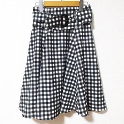 【中古】アプワイザーリッシェ Apuweiser-riche 美品 スカート ひざ丈 フレア ギンガムチェック 黒 白 1 W62