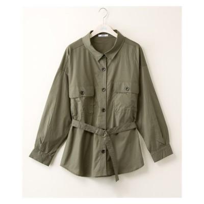 大きいサイズ レディース アウトポケット シャツ ジャケット 共布Dカン ベルト 付き  3L ニッセン