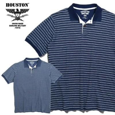 HOUSTON / ヒューストン 21787  INDIG BORDER JACQUARD POLO SHIRT/ インディゴボーダー ジャガード ポロシャツ -全2色