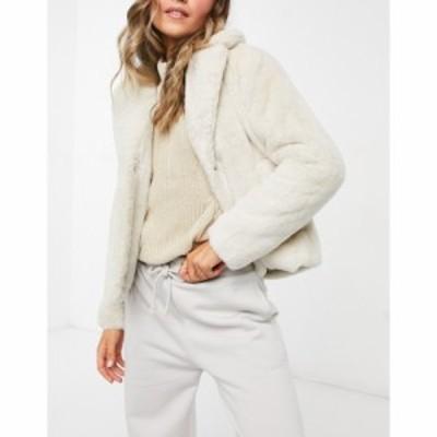 ヴィラ Vila レディース コート アウター Faux Fur Short Coat In Beige ホワイト