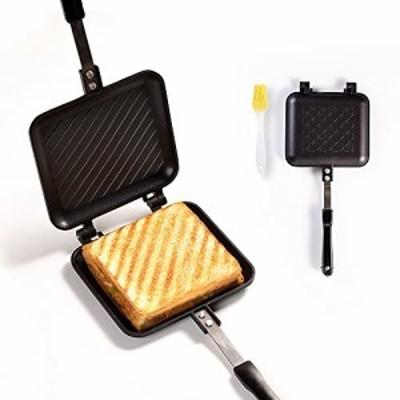 ホットサンドメーカー 直火式 ななめ焼き目 ホットサンドパン 両面焼き フライパン 油ブラシ付きトースターパン 上下取り外し可能 焼き目