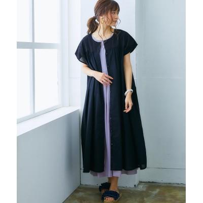 【ゆったりワンサイズ】重ねて使えるワンピース2点セット(刺しゅう) (ワンピース)Dress