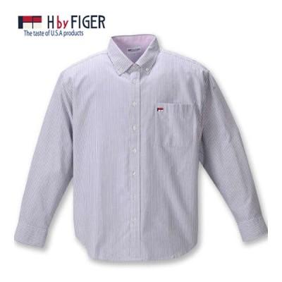 大きいサイズ メンズ H by FIGER オックスストライプB.D長袖シャツ 3L 4L 5L 6L 8L