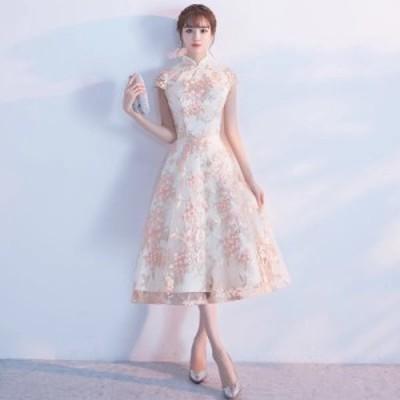 超可愛い 復古 チャイナドレス風 パーティドレス ミディアムドレス ワンピース ミドル丈  二次会 発表会 オーダーサイズ可能 D086b