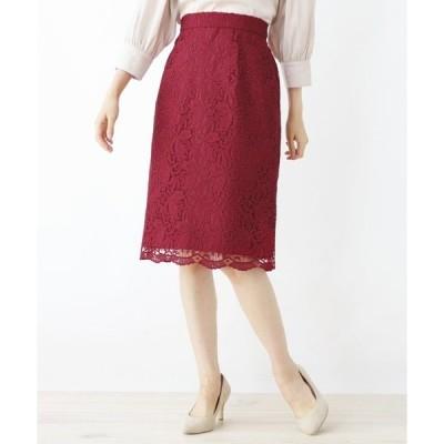 スカート 【洗える・42(LL)WEB限定サイズ】リーフレーススカート