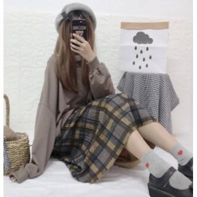 韓国 ファッション レディース スカート プリーツスカート ロング チェック ウエストゴム ハイウエスト ゆったり レトロ ガーリー 秋冬