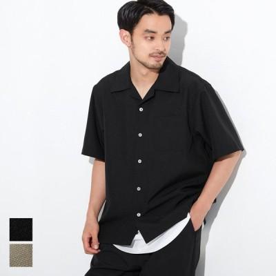 半袖シャツ ポリトロ オープンカラー 速乾 胸ポケット イージーケア 通気性 無地 01-210214102-21