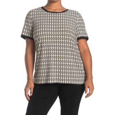 アンクライン レディース Tシャツ トップス Chainlink Button Back T-Shirt (Plus Size) ANNE WHT/ANNE BLK