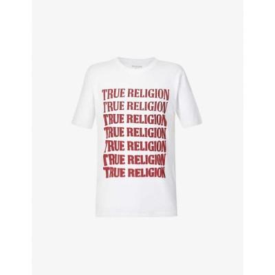 トゥルー レリジョン TRUE RELIGION メンズ Tシャツ トップス Brand-print cotton-jersey T-shirt OPTIC WHITE