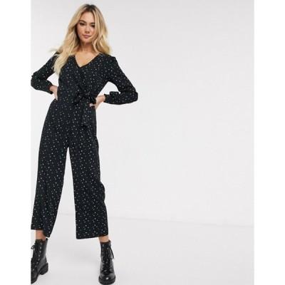 オアシス レディース ワンピース トップス Oasis star print jumpsuit in black