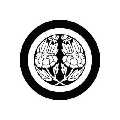家紋シール 白紋黒地 丸に違い枝牡丹 布タイプ 直径23mm 6枚セット NS23-0396W