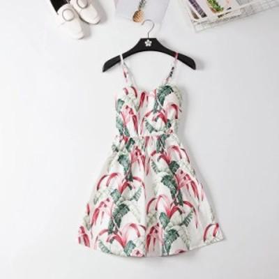 オフショルダー フリルドット 夏のドレス 女性 ストラップ ビーチ Marwin ワンサイズ 植物