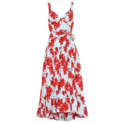 プロエンザ スクーラー Proenza Schouler レディース ワンピース ミドル丈 ワンピース・ドレス Floral crepe midi dress Red/Baby Blue Splatter Floral