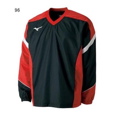 ミズノ テニス ウインドアップジャケット ウィンドブレーカーシャツ ブラック×チャイニーズレッド 96 MZ-62JE7001-96