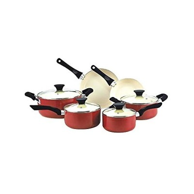 【送料無料】Cook N Home nc-0035910ピーステフロン加工のセラミックコーティング調理器具セット、レッドby Cook N Home【並行輸入品】
