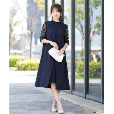 【結婚式・パーティードレス】スタンドカラー袖レースワンピースドレス<大きいサイズ有> 【謝恩会・パーティドレス】Dress