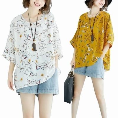 レディース Tシャツ ブラウス KL トップス 半袖 uネック 夏 カジュアル シフォン ゆったり 花柄  オシャレ 20代¥/30代¥/40代 きれいめ