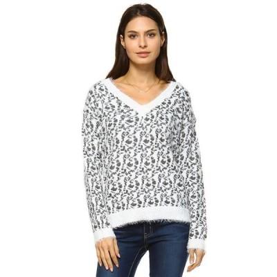 ホワイトマーク ニット&セーター アウター レディース Women's Leopard Sweater Grey