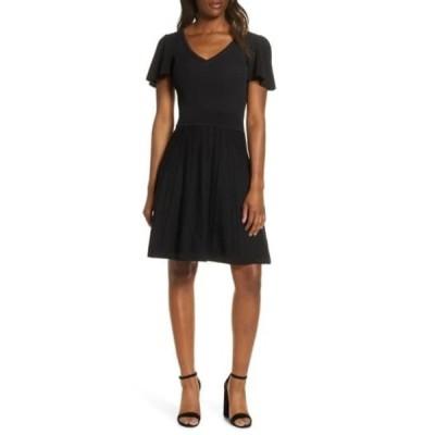 エリザジェイ レディース ワンピース トップス Ribbed Fit & Flare Sweater Dress BLACK