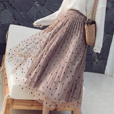 春秋冬新作 ロングスカート ロングスカート プリーツスカート 両面着 フレア スカート マキシスカート スカート マキシ ロングスカート ウエストゴム ふんわり