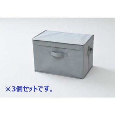 山善 YAMAZEN どこでも収納ボックス ふた付 幅380×奥行250×高さ250mm グレー YNF2-3PF(GY) 1セット(3個入)(直送品)