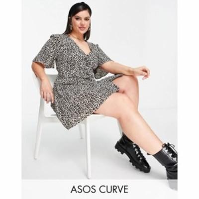 エイソス ASOS Curve レディース ワンピース ミニ丈 ASOS DESIGN Curve button through tie back mini tea dress with angel sleeve in a