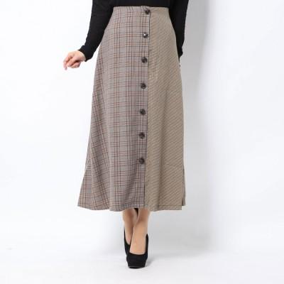 スタイルブロック STYLEBLOCK 先染めチェック柄切替フロント釦スカート (キャメル)