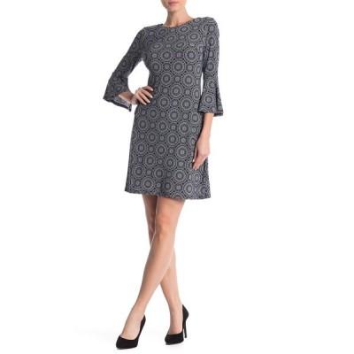 トミー ヒルフィガー レディース ワンピース トップス Printed Bell Sleeve Jersey Dress SKY CAPT/I