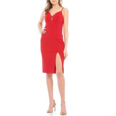 シティヴァイブ レディース ワンピース トップス V-Neck Lace Inset Bodycon Dress