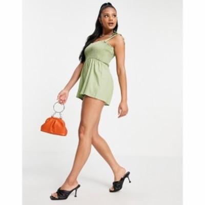 ミスガイデッド Missguided レディース オールインワン ショート ワンピース・ドレス tie strap shirred playsuit in green グリーン
