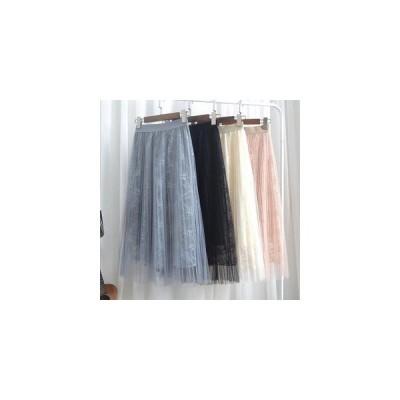 【セール】チュールスカート レーススカート WE ロング スカート レディース マキシスカート Aライン ロングスカート 姫系 プリーツスカート