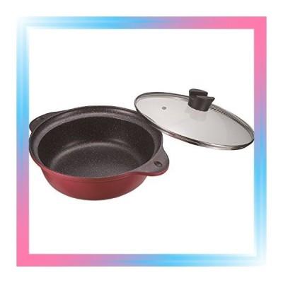 27cm 両手鍋 紅玉色 27cm IH対応ガラス蓋付卓上鍋 マルチテイス