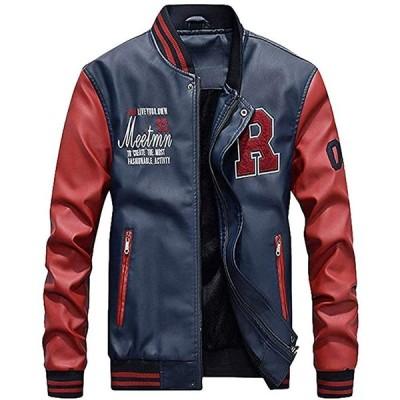 [マインサム] スタジャン メンズ コート トップス 合皮 ライダース ジャケット 大きいサイズ 冬 革 服 裏起毛 防寒 スポーツアウター ブルー