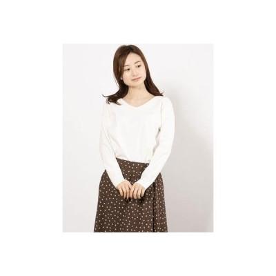 ルゥデ Rewde VネックロングTシャツ(1R15-03170) (シロ)