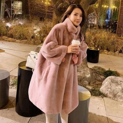 ロングコート レディース ピンク ファーコート アウター 冬服 厚手 暖かい コート 人気 フェイクファーコート カジュアル 毛皮コート ブラック 無地 上品