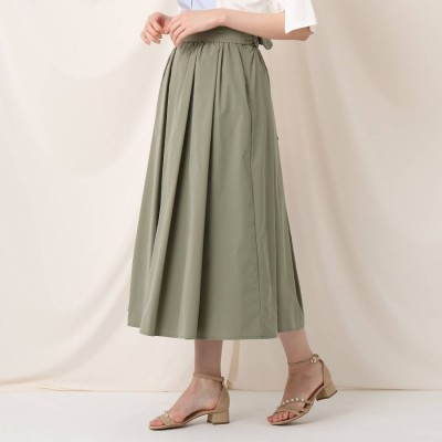 クチュール ブローチ Couture brooch タックリボンタイプライターフレアスカート (オリーブグリーン)