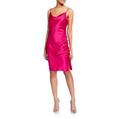 パーカー ブラック レディース ワンピース トップス Mandy Cowl-Neck Ruched Satin Dress