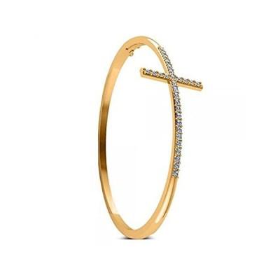 [新品]14Kゴールド女性のダイヤモンドで信仰クロスバングルブレスレット