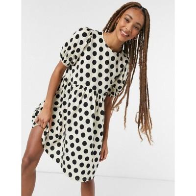 エイソス ミニドレス レディース ASOS DESIGN mini short puff sleeve mini dress in cream and black spot エイソス ASOS マルチカラー
