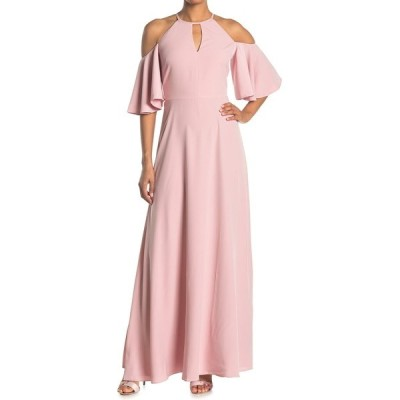 テッドベーカー レディース ワンピース トップス Dulciee Cold Shoulder Bell Sleeve Maxi Dress DUSKY PINK