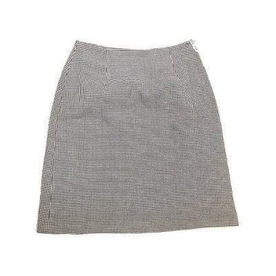 【中古】ボールジー BALLSEY トゥモローランド ウール シルク ブレンド 台形 スカート チェック ハーフ 膝丈 38 白 黒# レディース 【ベクトル 古着】