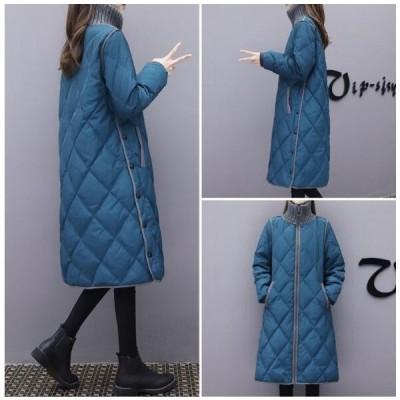 中綿コート ダウン風コート レディース ロング丈 ダウン風ジャケット 冬アウター ゆったり 暖かい