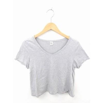 【中古】ロンハーマン Ron Herman カットソー Tシャツ Vネック 無地 シンプル 綿 コットン 半袖 S グレー 灰 /TT16