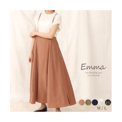(emma/エマ)柔らかな素材で女性らしい優しいシルエットのサロペットスカート/レディース オレンジ