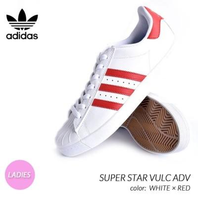 海外限定 アディダス スーパースター バルカ スニーカー adidas SB SUPER STAR VULC ADV WHITE × RED ( 白 ホワイト 赤 レディース CQ1186 )