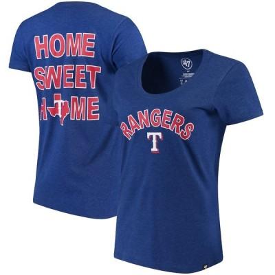 フォーティーセブン Tシャツ トップス レディース Texas Rangers '47 Women's Club Scoop Neck T-Shirt Royal