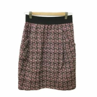 【中古】スピック&スパン ノーブル スカート 台形 コクーン ひざ丈 タック ウエストゴム ツイード ピンク 黒